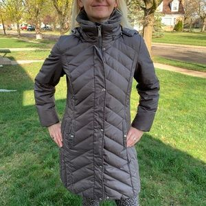 Michael Kors Parka Quilted Hooded Fax Fur Sz M